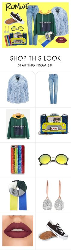 """""""Banana Split    Romwe- sweatshirt"""" by bluehatter ❤ liked on Polyvore featuring Levi's, Karl Lagerfeld, Edie Parker, ZeroUV, Sandro and Monica Vinader"""