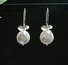 Orchid Earrings Freshwater Pearl Earrings by DanglingJewelry