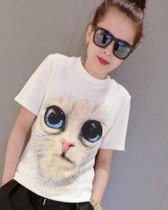 979c514a6658 cute slim womens 3D cat t shirt short sleeve- 3d T Shirts