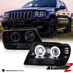 1999-2004 Grand Cherokee WJ WG Black Smoke LED CCFL Halo Projector Headlights #VIPMOTOZ