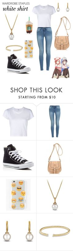 """""""Wardrobe Staples - White Shirt"""" by ashes611 ❤ liked on Polyvore featuring RE/DONE, Converse, Umi, Ankit, David Yurman and WardrobeStaples"""