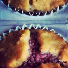 High protein, coconut flour muffins with a strawberry + chia seed jam filling.  No added sugar, no butter, no oil.