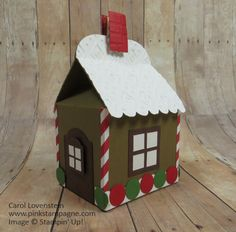 Gingerbread House (November Card Class); Baker's Box Thinlits Dies; designed by Carol Lovenstein; Stampin' Up! Idea
