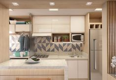 Cozinha integrada em apartamento decorado