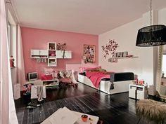 jugendzimmer mädchen rosa wand weiße möbel schwarzer fußboden