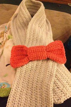 Adult crochet bow scarf