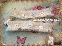Vintage style ivory lace garter - Something Old, Something New, Something Blue,  £10.00