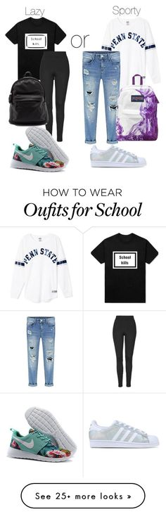 """First day of school Part 1 Sunny days"" by jordangirl2313 on Polyvore featuring Topshop, adidas Originals, JanSport, women's clothing, women's fashion, women, female, woman, misses and juniors"