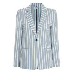 FRAME Women's Le Stripe Blazer ❤ liked on Polyvore featuring outerwear, jackets, blazers, striped jacket, pocket jacket, striped blazer, blazer jacket and blue striped blazer