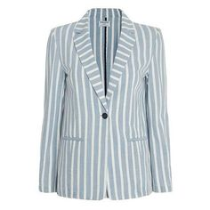 FRAME Women's Le Stripe Blazer ❤ liked on Polyvore featuring outerwear, jackets, blazers, striped jacket, pocket jacket, striped blazer, blazer jacket and blue striped blazer