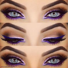 Eine Zusammenfassung unserer bevorzugten farbigen Eyeliner-Looks This purple graphic eye by is so striking. She used NYX's Extreme Purple Liquid Liner, and added Liquid Crystal Pink Liner for that sparkle. - Schönheit von Make-up Bright Eye Makeup, Love Makeup, Makeup Tips, Beauty Makeup, Makeup Ideas, Makeup Inspo, Makeup Tutorials, Gorgeous Makeup, Makeup Meme