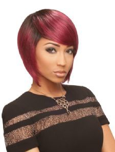 Very natural looking style with bangs brushed to the side, layered ends #sarah #wigsdepot #wigs #shop