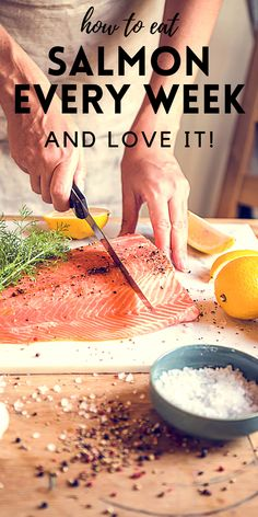 How to Eat Salmon Once a Week and Love it!  13 mouthwatering salmon recipes...#salmon #fish #healthy #grilled #roasted #soup #salad #skewers #baked #panseared #easy #cakes #dinner #lemon #meatless #glutenfree #seafood #weightwatchers #paleo #whole30 Healthy Salmon Recipes, Beef Recipes, 30 Minute Meals, Fish Dishes, Skewers, Yummy Drinks, Easy Dinner Recipes, Whole30, Healthy Choices