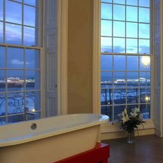 Bathe with a view! Love the huge windows! A bathroom at Drakes, Brighton