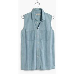 MADEWELL Chambray Sleeveless Shirt ($65) ❤ liked on Polyvore featuring tops, tops/outerwear, gwen wash, embroidered shirts, sleeveless tops, blue top, madewell and chambray shirt