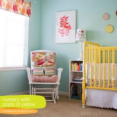 Great colour scheme - and LOVE the yellow cot!