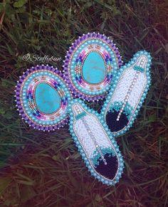 Turquoise Custom Order headed to North Carolina. Native American Earrings, Native American Beadwork, Seed Bead Earrings, Feather Earrings, Beaded Rings, Beaded Jewelry, Handmade Jewelry, Jewellery, Bead Crafts