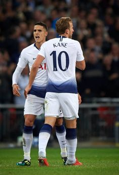 Harry Kane and Erik Lamela of Tottenham celebrate a goal during the Group B match of the UEFA Champions League between Tottenham Hotspur and FC Barcelona at Wembley Stadium on October 2018 in. Erik Lamela, Karbala Photography, Tottenham Hotspur Football, Harry Kane, Wembley Stadium, Uefa Champions League, Fc Barcelona, Premier League, Military Vehicles