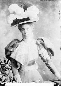 Cornelia Martin (1877-1961) was the only daughter of wealthy New York banker Bradley Martin and his socially ambitious wife. She married the 4th Earl of Craven right after she turned 16 in 1893; he was 25. She brought a dowry of 200,000 but also had her own fortune of a million dollars. They had one son, and the Earl drowned at Cowes in 1921.