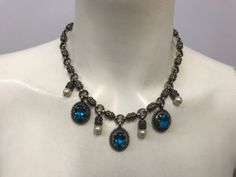 B-C-SILVER-NED-BOWMAN-STERLING-NECKLACE-PEARLS-AND-BLUE-TOPAZ-AMAZING-ART-PIECE