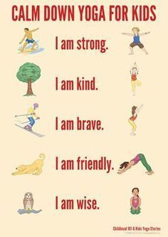 Calm Down Yoga Routine for Kids: Printable Yoga can really help kids decrease anxiety and increase self esteem, try this easy sequence with your kiddos- Managing Big Emotions Through Movement Yoga For Kids, Exercise For Kids, Kids Workout, Stretches For Kids, Yoga Routine, Baby Yoga Poses, Childrens Yoga, Sup Yoga, Helping Children