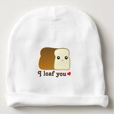 #cute #baby #beanies #babybeanies - #I Loaf You Kawaii Bread Cartoon Food Pun Unisex Baby Beanie