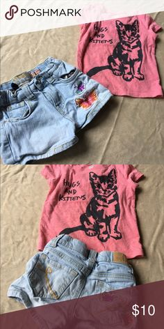 18-24 Month clothing Set Children's Place butterfly jean shorts and old navy kitten t shirt. Both in great condition. Children's Place Bottoms