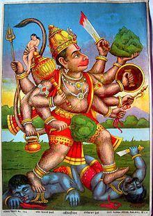 Hanuman kills Ahi and Mahi Ravi Varma Press, 1910 ( Image source )
