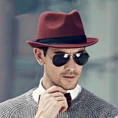 Wine fedora hat for men gentleman wool winter hats f11a3f9cc73