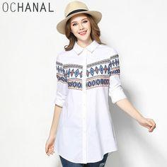 OCHANAL Women Casual Button Through Geometry Pattern Printed Long Sleeve Shirt Plus Size White Shirts xl to 5xl