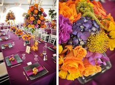 DB bride Stacie incorporated pops of purple and orange to create a unique and unforgettable wedding color palette. She dressed her girls in our exclusive Persimmon to match! See More Photos: http://bit.ly/z91BEU