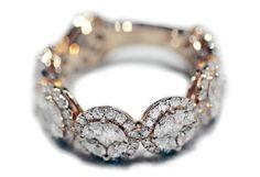 #Anello fantasia in oro rosa 18Kt. #Diamanti taglio #marquise e #princess.