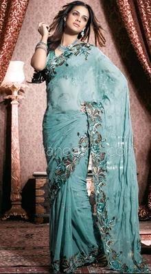 Plushy Teal Blue Embroidered Saree