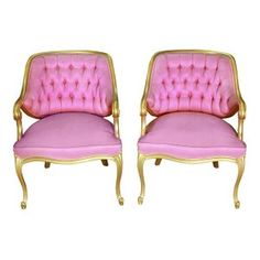 The Shirleys: Vintage Pink + Gold Tufted  Parlor Chairs || Something Vintage Rentals: Vintage rentals and handcrafted pieces for weddings and events in DC, Maryland, and Virginia ||