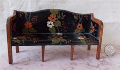 TYNIETOY Hand Painted Wooden Sheraton Sofa Dollhouse Miniature 1920s/30s | eBay