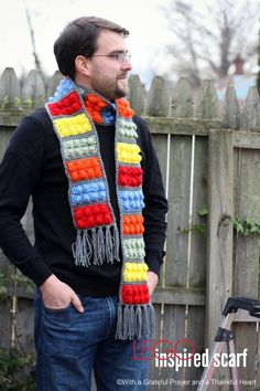 With a Grateful Prayer and a Thankful Heart: Crochet Lego Blocks Scarf