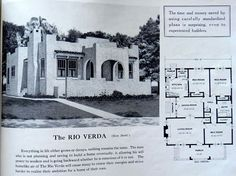 "1926 Standard Home Plans ""Rio Verda"" ~A squarish 3 bedroom, 1 bath bungalow floor plan wrapped in stucco with flat roof reminiscent of a southwestern mission for a Spanish flavor, and with an open style front veranda and very small side porch off the dining room."