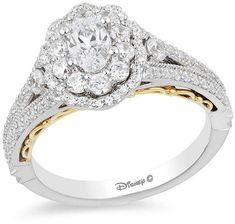 Enchanted Disney Belle 1 5 Ct T W Diamond Frame Promise