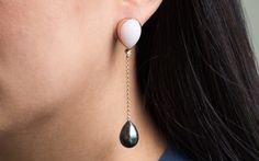 Opal & Pearl drop earrings