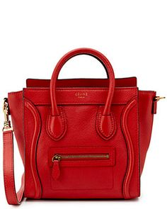 33f3e0159d CELINE Red Leather Nano Luggage Tote Pebbled Leather