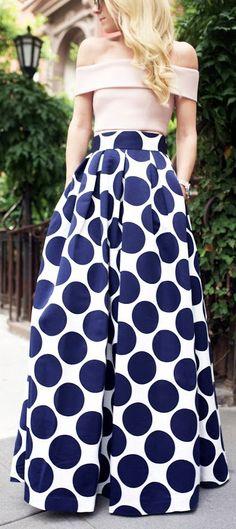 Pleated Dot Print Ball Skirt