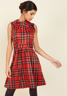 Coach Tour A-Line Dress in Crimson Plaid. Sometimes a dress is so magical, it makes you long for somewhere special and new to wear it. #red #modcloth