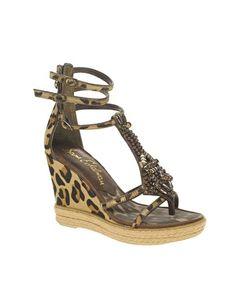 Sam Edelman Lana Leather Embellished Wedge Sandals