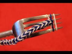 Rainbow loom Nederlands, visgraat, armband, zonder loom, met vork - YouTube
