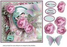 Shabby Chic Stack Decoupage Card on Craftsuprint - View Now!
