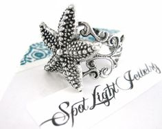 Silver Starfish Ring - Starfish Jewelry - Nautical Ring - Star Fish Ring - Adjustable Ring