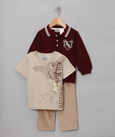 Take a look at this Maroon & Khaki Polo Set - Infant, Toddler & Boys on zulily today!