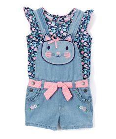 Nannette Navy Angel-Sleeve Top & Kitty Shortalls - Infant, Toddler & Girls | zulily
