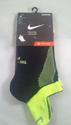 New Nike Elite Lightweight Running Socks Men's Shoe Size 6-7.5 Black Neon Yellow #Nike #Athletic