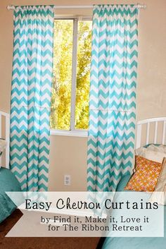 Easy Chevron Curtains - The Ribbon Retreat Blog Saw this fabric in black the other day and liked it but didn't know what I could do with it. Totally thinking of doing this in my spare bedroom/office now, maybe with a pink accent.